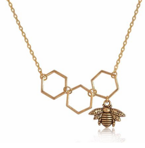 Hollow Honeycomb Bee Pendant Necklace