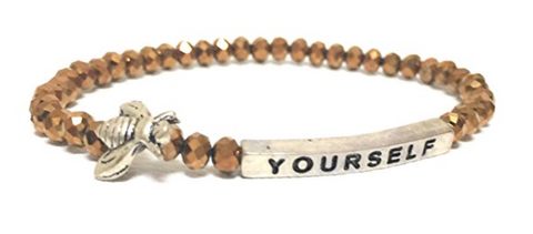 Bumble Bee Yourself Inspirational Quote Bracelet