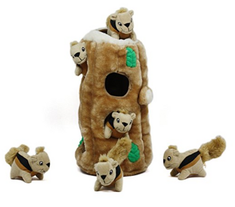 Hide-A-Squirrel and Puzzle Plush Squeaking Toys for Dogs