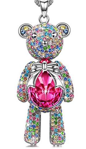 """Bear Princess"" Made with Rose Swarovski Crystals"