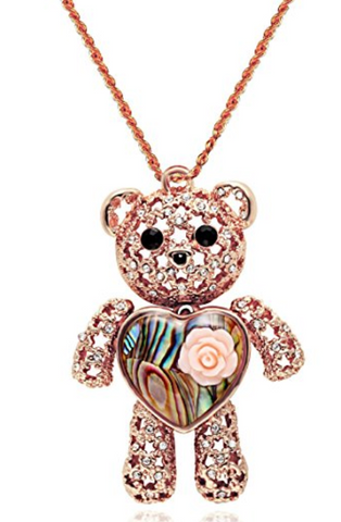 Princess Bear Pendant Love Heart Necklace