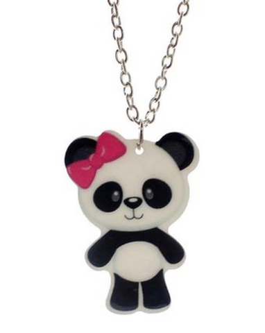 Cute Panda with Hair Bow Necklace