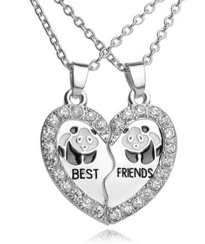 Best Friends Panda Heart Puzzle Necklace