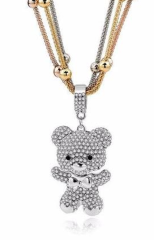 Multi Chain Silver Crystal Bear Pendant Necklace