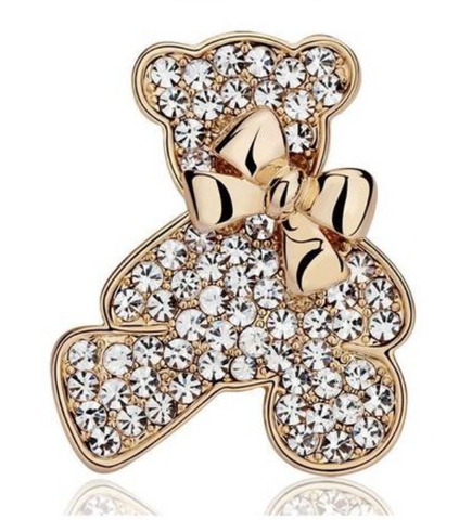 Crystal Bear with Collar Bow Brooch