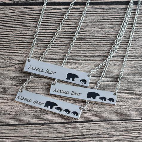 Mama Bear Tag Pendant Necklace