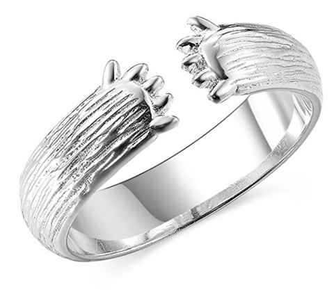 Love Hug Open Ring with Bear Claws Paws