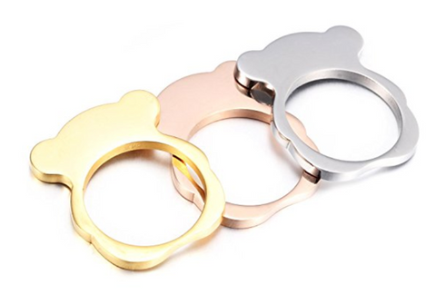 18K Gold, Rose Gold Plated and Silver Teddy Bear Rings