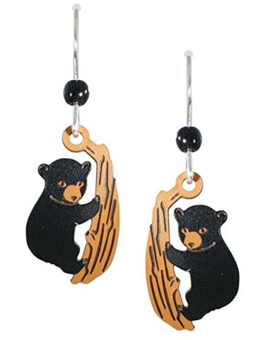 Bear Cub Climbing Trees Earrings