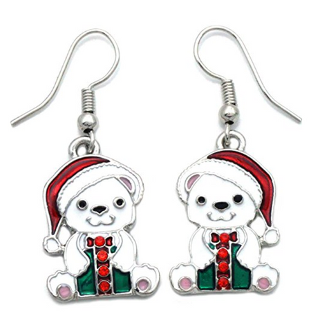 Santa Clause Polar Bear Charm Earrings