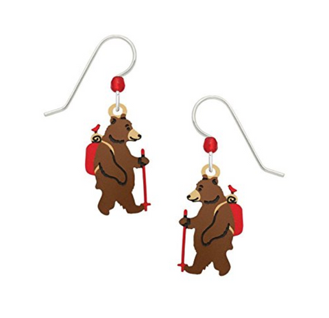 Hiking Bear Drop Earrings
