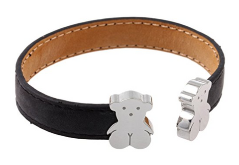 Leather Cuff Bracelet For Women with Teddy Bears