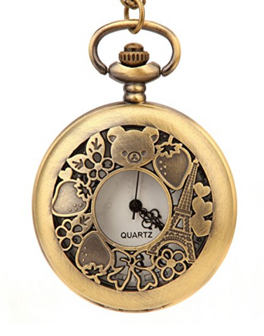 Fashion Bear Flower And Eiffel Tower Hollow Round Pocket Watch