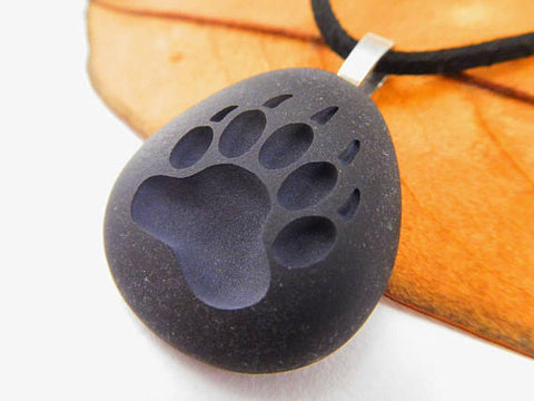 Bear Paw Engraved Pendant Necklace
