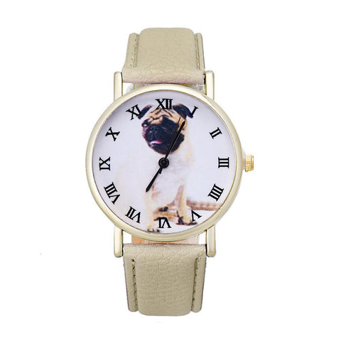 Smiling Pug Dog Leather Wrist Watch