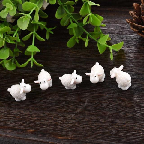 5 Pieces Mini Sheep Figurines