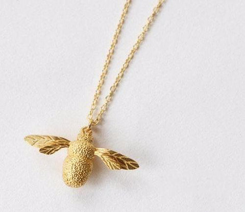 Cute Bumble Bee Leaf Wings Necklace