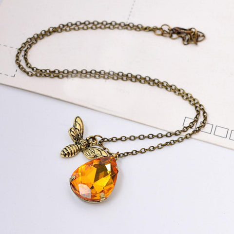 Cute Yellow Crystal Honey Bee Pendent Necklace