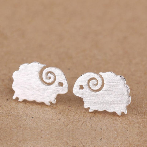 Sterling Silver Sheep Stud Earrings