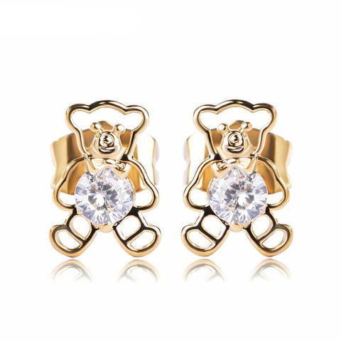 Cute Bear Zirconia Stud Earrings