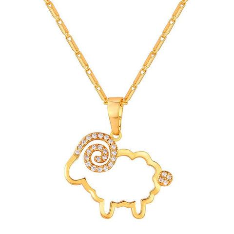 Ram Male Sheep Rhinestone Necklace