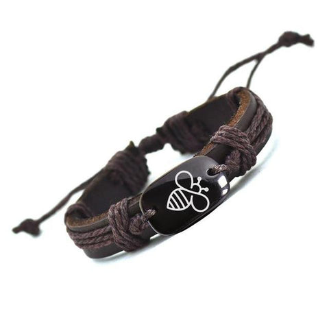 Black Bee Charm Leather Rope Bracelet