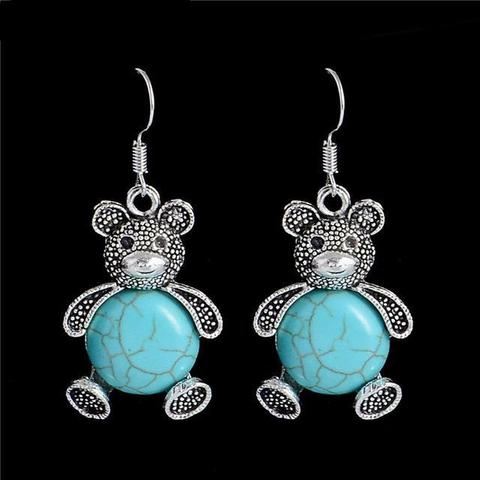 Tibetan Silver Turquoise Stone Bear Earrings