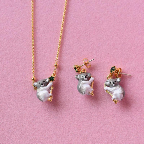 Enamel Glaze Koala Bear Earrings and Necklace