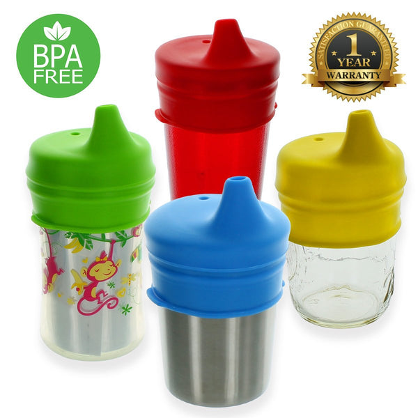 Sip-Topia Silicone Sippy Lids (4 Pack) – USA Safety Tested, Spill Proof, BPA Free, Universal Soft Spout Stretch Tops | Make Any Cup a Sippy Cup for Toddler, Baby, Infant (Red Yellow Green Blue)