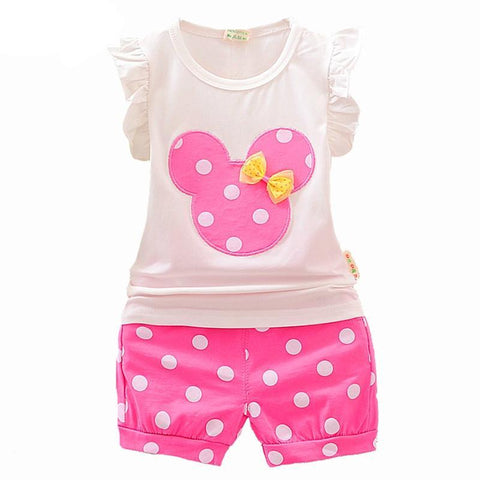 Cute Little Girls Dot Shorts Clothing Set