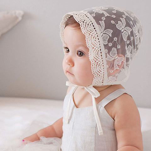 Dotted Floral Lace Up Baby Cap