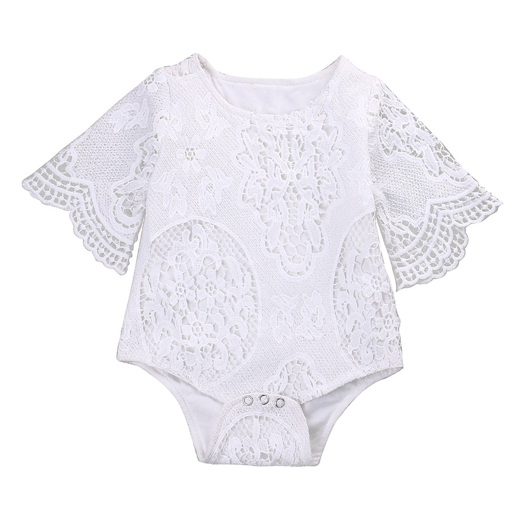 Baby Girls White ruffles Sleeve Romper