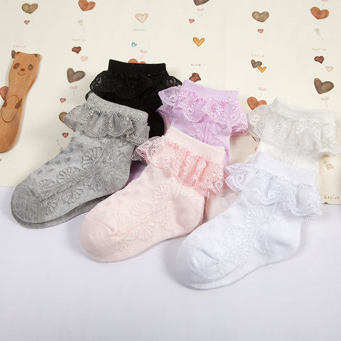 candy color lace ruffle Girl Socks