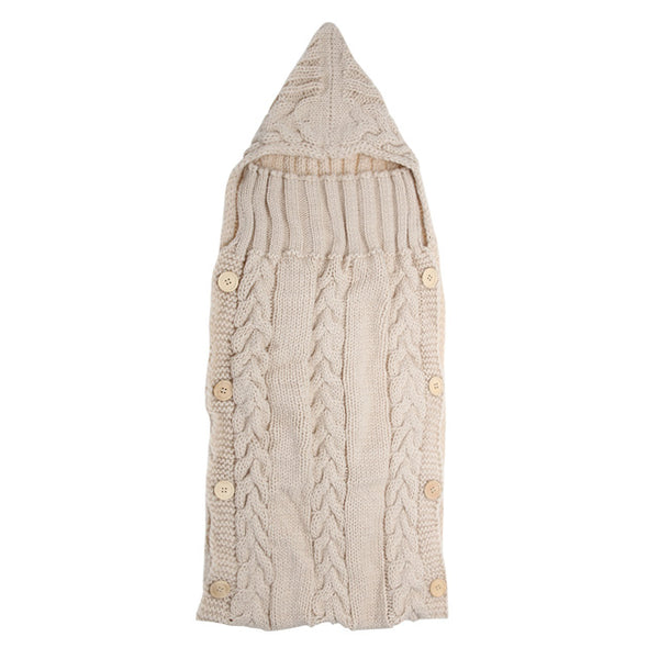 Baby Infant Swaddle Wrap Warm Wool Blends Crochet Knitted Hoodie Swaddling Wrap