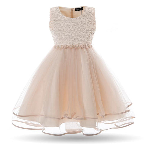 Girls Lace Dress | Mesh Pearl Evening Ball Gown