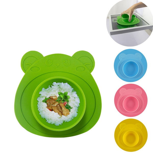 Silicone Baby Dish Bowls With Suction Cup Bottom | Feeding Food Plate 4 Colors