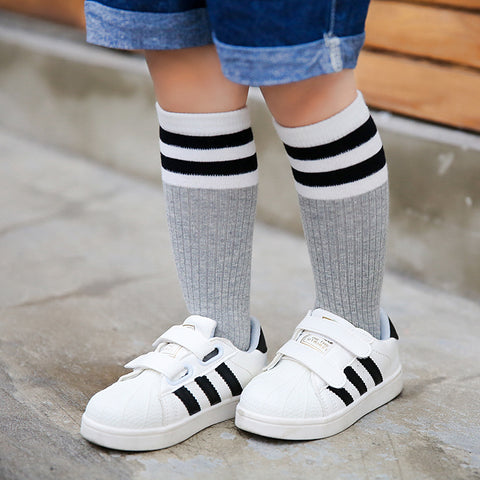 Toddlers Cotton Knee High Stripped Socks