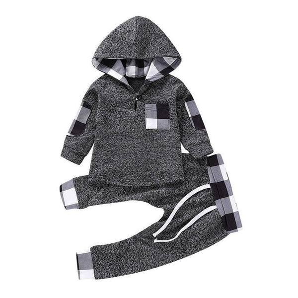 Fashion Toddler Plaid Hooded Outfits