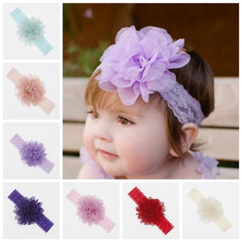 Baby Newborn Chiffon Fabric  Flower Headband