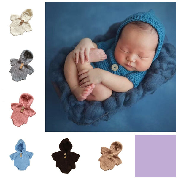 Newborn Photo Prop Hooded Romper