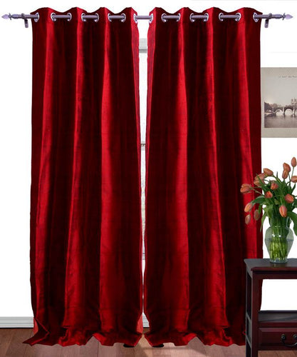 Red Color Pure Silk Dupioni Curtains