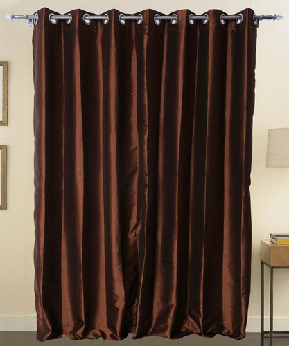 Brown Color Pure Silk Dupioni Curtains