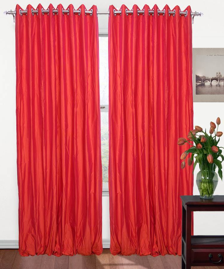 Coral Color Pure Silk Dupioni Curtains