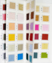 Load image into Gallery viewer, Pure Silk Dupioni Color / Shade Card With over 100 Real Fabric Swatches.