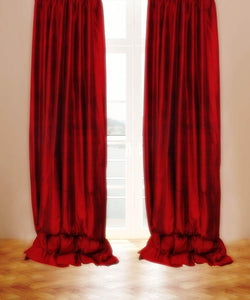Pure Silk Curtains Maroon Color Eyelet Top Choice Width, Length & Lining