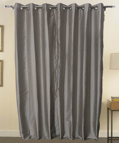 Grey Color Pure Silk Dupioni Curtains