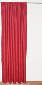 Rod Top Red Linen Curtains