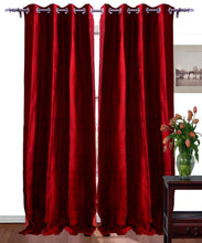 Load image into Gallery viewer, Pure Silk Curtains Maroon Color Eyelet Top Choice Width, Length & Lining