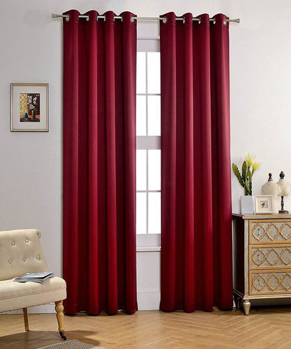 Wine Red Green Blackout Curtains