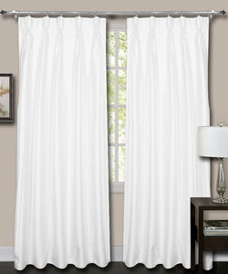 French Pleate White Silk Curtains